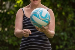 Pauline practicing volleyball