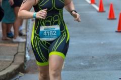 Pauline doing the run leg of the 2018 Mooloolaba Triathlon