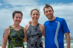 Pauline, Melinda and Luke (Melinda's brother and our regular anaesthetist) at the 2018 Mooloolaba Triathlon